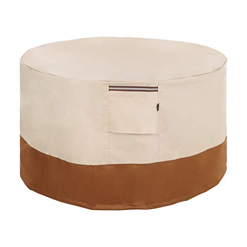 SONGMICS Fire Pit Ottoman Side Table Cover, Round Patio Fire Pit Table Protective Cover for Outdoor Garden, Waterproof and Anti-Fade, 30 x 12 Inches (Dia. x H) UGPC76EC (Table Round Cover Side)