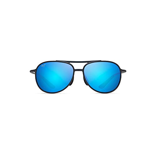Maui Jim Alelele Bridge B438-03M | Polarized Matte Blue Aviator Frame Sunglasses, with with Patented PolarizedPlus2 Lens Technology