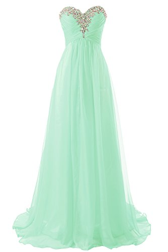 (JAEDEN Prom Dress Bridesmaid Dresses Long Chiffon Formal Evening Gown A line Mint US16W)