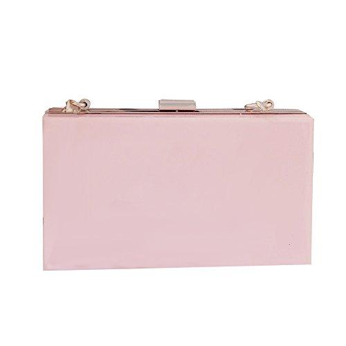 Women Cute Transparent Clear See Through Box Clutch Acrylic Evening Handbag Cross-Body Purse Bag (Pink)