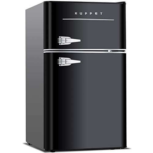 KUPPET Retro Mini Refrigerator 2-Door Compact Refrigerator for Dorm, Garage, Camper, Basement or Office, 3.2 Cu.Ft, Black