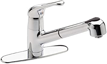 White Pull-Out//Pull-Down Kitchen Faucet Pfister T533-5WW Genesis 1-Handle