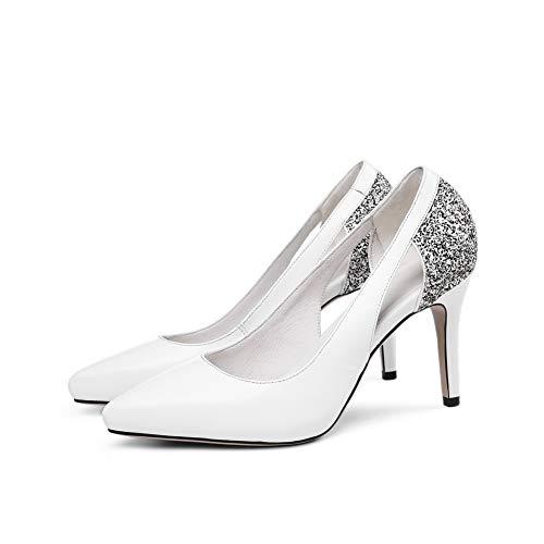 Mujer Uretano Tacón Zapatos 1to9 Tachuelas Con Blanco Mms06534 De Para 8IwPw1q