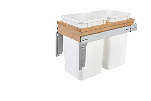 Rev-A-Shelf - 4WCTM-15DM2 - Double 27 Qt. Pull-Out Top Mount Wood and White Waste Container for 1-1/2 in. Face Frame Cabinet (Dual Bracket Shelf 12 Track)