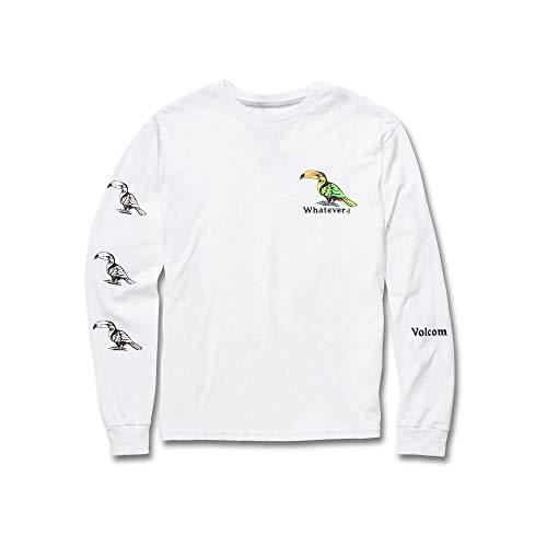 Volcom Big Boys Bad Bird Long Sleeve Basic Fit Tee, White Large