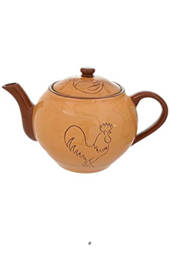 Country Rooster Teapot - Large 50oz Portuguese Ceramic Farm House Clay Rooster Design Country Teapot