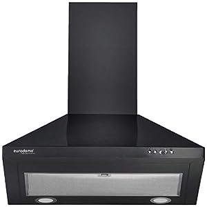Eurodomo 60 cm 800 m³/HR Pyramid Kitchen Chimney (Hood Sapphire BK BF 60, Cassette Filter, Black)
