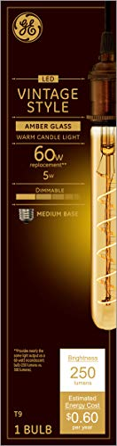 GE Lighting 36513 Amber Glass Light Bulb LED Vintage Style Dimmable T9 Tube 5 (60-Watt Replacement), 250-Lumen Medium Base
