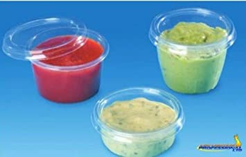 100 pcs desechables de plástico caja transparente Copa redonda con tapa 50 ml 2oz Salsa - 7050 C + P: Amazon.es: Hogar