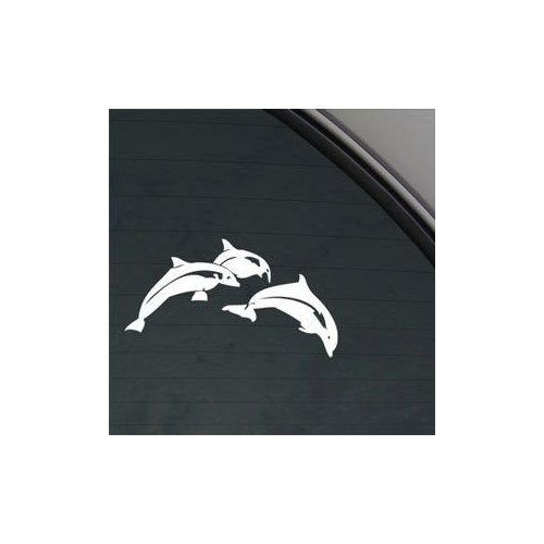 Leaping Dolphins White Color Decoration Decor Adhesive Vinyl Wall Art Car Auto Home Decor Car Helmet Bike Notebook Laptop Macbook Sticker (Leaping Dolphin)