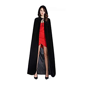 Diffly 59″ Velvet Hooded Cape Unisex Halloween Cloak for Devil Witch Wizard Halloween Christmas Cosplay