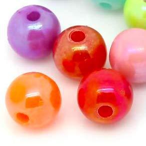 Perle per Fai da Te 500 Pezzi creazione di Gioielli Foro da 2 mm lavori Fai da Te Perline Perle in plastica Lucide da 6 mm Handarbeit-Lieblingsladen Perle in Acrilico Colorate