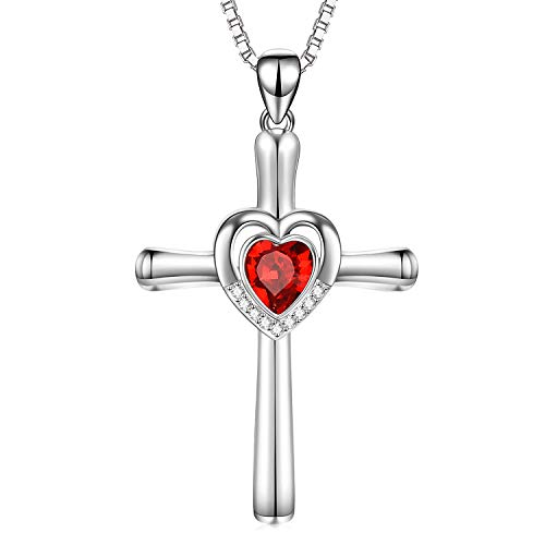- Sterling Silver Cross Necklace with Heart-Shaped Ruby Red Swarovski Crystals Jewelry Infinity Love Cross Necklace Birthday Gifts for Teens Women