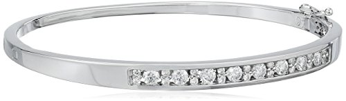 Platinum over Sterling Silver Moissanite Bangle Bracelet by Amazon Collection
