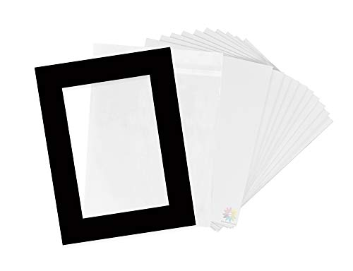 Pack of 10-18x24 Pre-Cut 12x18 - Black Mats - for Pictures, Photos, Framing - Kit Includes: 10 White Backboards and 10 Clear Bags - Acid Free, 4-ply Thickness, White Core ()