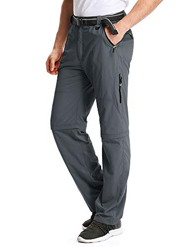 Mens Convertible Pant (Toomett Men's Outdoor Hiking Convertible Quick Dry Pants Elastic Waist Casual Lightweight Fishing Shorts,M1111,Gray,40)