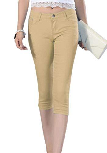 Vita A Jeans Kaki Slim 3 Donna Tinta Corto Bassa Fit Bottone Capri Casual Da Unita 4 Pantaloni Giovane qrttIB