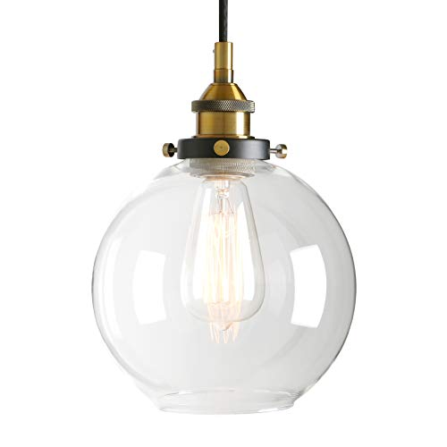 Pathson Retro Kitchen Pendant Lighting, Industrial Antique Brass Hanging Lamp Fixture with Globe Clear Glass, Adjustable Cord Wire Ceiling Light for Dining Room Living Room -