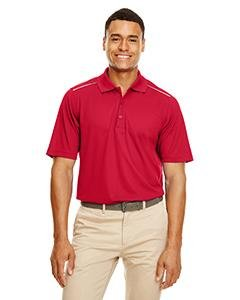 (Ash City Men's Radiant Performance Piqué Polo With Reflective Piping, Classic Red 850, XL)