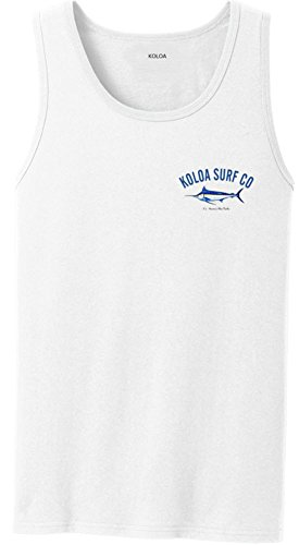 Koloa Surf Hawaiian Blue Marlin Logo Heavyweight Cotton Tank Top-White/c-2XL ()