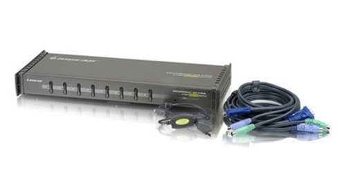 IOGEAR 8-Port MiniView Ultra KVM Switch with Cables, PS2 and USB, GCS138KITUP by IOGEAR