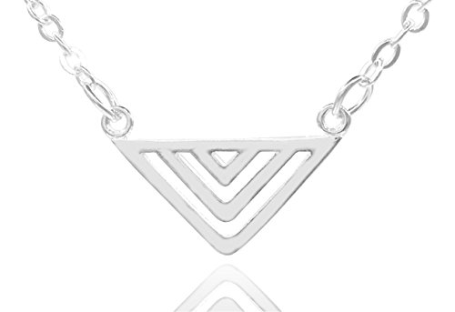 Emma & I 925 Sterling Silver Patterned Cutout Triangle Pendant Necklace (Gift Box Included) -