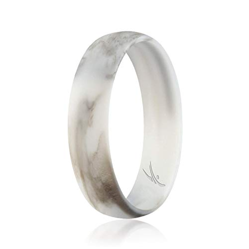 ROQ Silicone Wedding Ring for Women, Affordable Comfort Fit 6mm Love Metallic Silicone Rubber Wedding Bands - Marble - Size 5