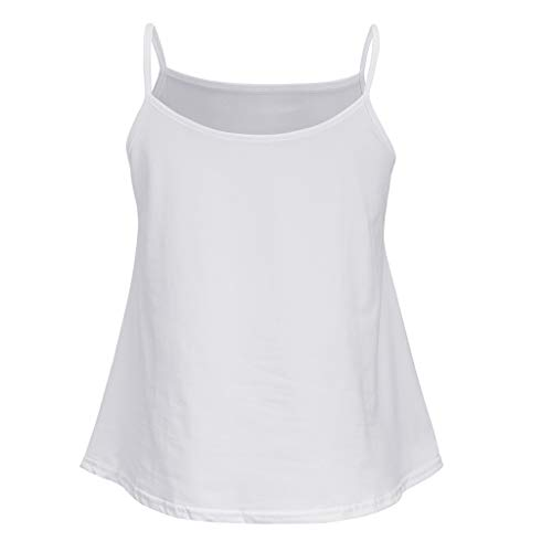 Fitfulvan Women's Round Neck Solid Color Sleeveless Camisole top Open Back Casual Sexy Sling Beach Holiday Vest Blouse White