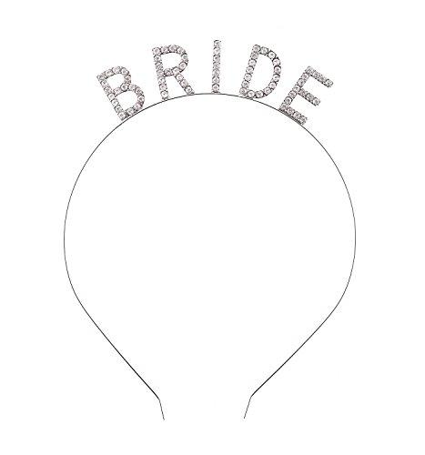 DaXi Bridal Headband Tiara with Sparkling Rhinestone BRIDE Elegant Crown Headband For Wedding Party -