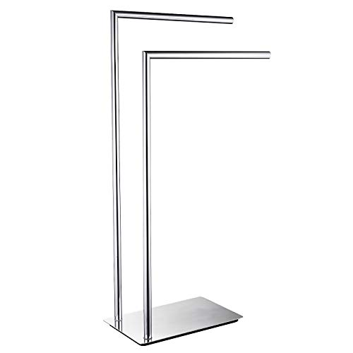LANGPAI Freestanding Double Towel Racks Bathroom Accessories Towel Holder Stand on Floor Brass Chrome