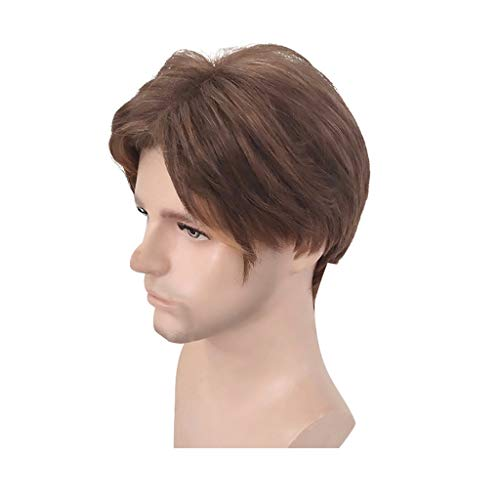 Ydida New Handsome Short Straight Men Wig Party Hair Wig Men's Wig Black Curly Wavelength Layered Natural Style Costume Wig And Bangs Men Wig Natural Short Straight Hair Synthetic Full Wigs]()