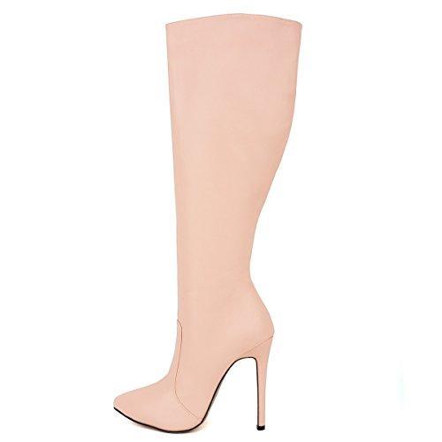 HooH Women's Pointed-toe Matte Zipper Slip Stiletto Pumps Thigh Boot Pink