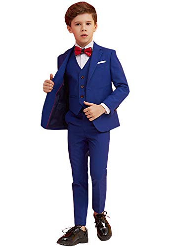 Boys Suits 5 Piece Slim Fit Suit,Ring Bearer Suits Blue 2 Button Size 6