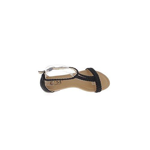 Nu-pieds noirs aspect daim avec bride cheville