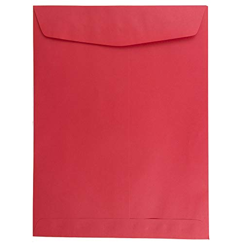 JAM PAPER 9 x 12 Open End Catalog Colored Recycled Envelopes - Red Recycled - 100/Pack