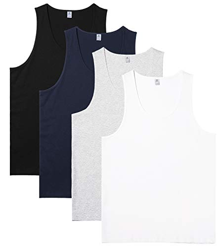 (LAPASA Men's 100% Cotton Tank Tops Sleeveless Crewneck A-Shirts Basic Solid Undershirts Vests 4 Pack M36 (Medium, Multicolor))