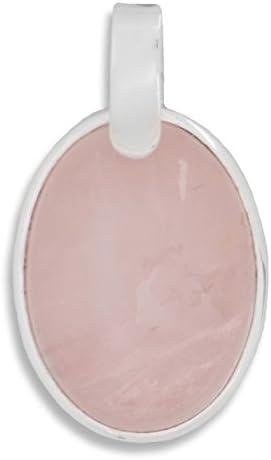 ERCE cuarzo rosa piedra semipreciosa colgante gota plata de ley 925