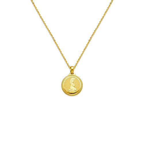 14K Yellow Gold Charm Praying Girl or Boy Communion Pendant Necklace (14, 15, 16, 18, 20), 20