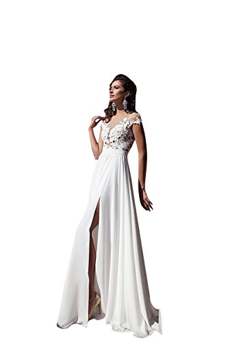MaraBridal Slim Sheath/Column Scoop Neck Cap Sleeve Chiffon Lace Wedding Dresses/Gowns (2, White)