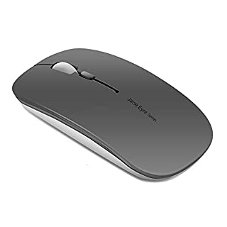 Picktech Q5 Slim Rechargeable Wireless Mouse, 2.4G Portable Optical Silent Ultra Thin Wireless Computer Mouse with USB Receiver and Type C Adapter, Compatible with PC, Laptop, Notebook, Desktop (Grey)