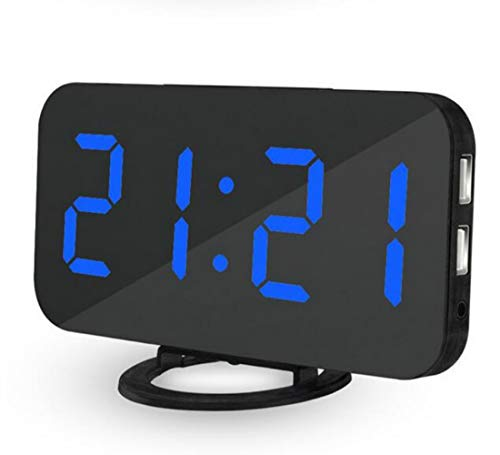 Silverzone LED Digital Alarm Clock 6.5'' Big Digit Mirror Surface Smart Loud Alarm with Snooze, 3-Level Auto/Manual Dimmer and Dual USB Charger Port for Kids and Heavy Sleepers (Black Body Blue Word)