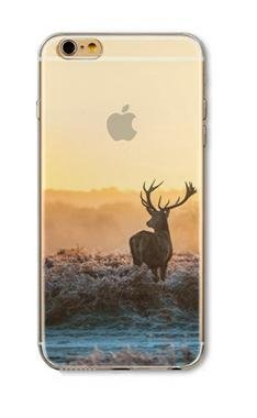 iPhone 6 / 6s Compatible, DECO FAIRY Beautiful Scenery Ultra Slim Translucent Silicone Clear Case Gel Cover Case - Deer in the African - Flags Translucent