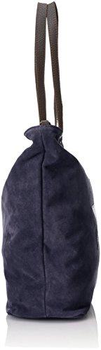 Blue Handbag Genuine Italy Leather Woman's blu 33x26x13 In Suede Made Cm Soft Ctm wa6PW