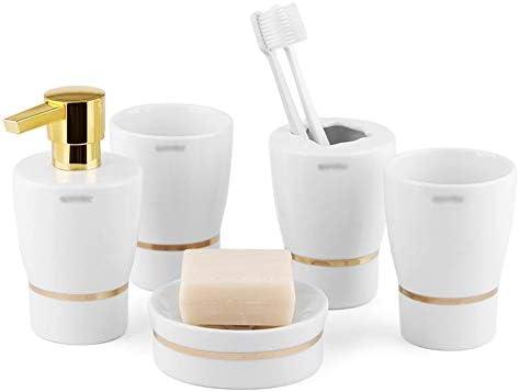 FXin バスルームアクセサリー、セラミック素材、シンプルなホワイトファッションパターンバスルーム、5セットのカップルトイレタリー、3つのスタイルが利用可能 シャワー室 (Color : Gold stripes)