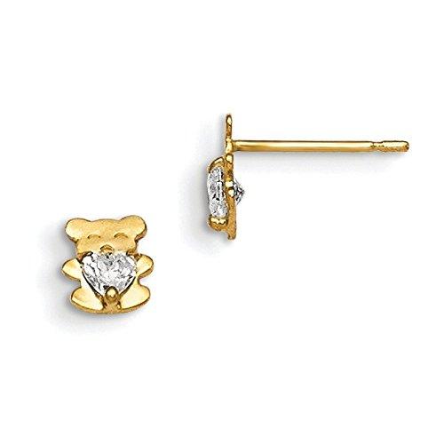 Or 14ct MADI (K CZ Boucles d'oreilles pour Enfant Teddy Bear Post