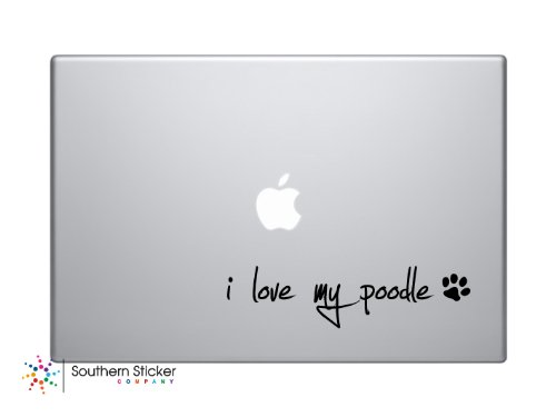 I Love My Poodle Text Black Symbol Dog Puppy heart paw bone Love Iphone Silhouette Decal Humor Macbook Symbol Iphone Disney Apple Ipad Decal Skin Sticker Laptop (Symbol Puppy Text)