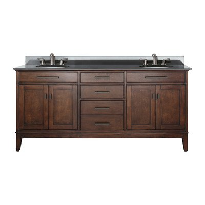Avanity Madison 72 in. Vanity with Black Granite Top and Double Sinks in Tobacco finish - Double Dresser Finish