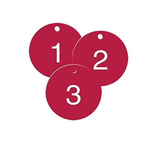 (Numbered Red Plastic Circle Tags - Pack of 25-1-1/2