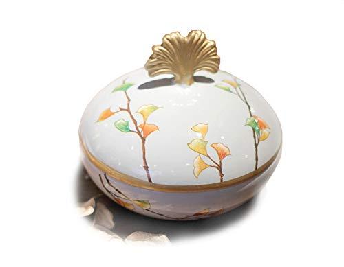 Jitejoe Gorgeous Ceramic Jewelry Box Crafts Ginkgo Leaves Beautiful Pattern Round Trinket Jewelry Box - Jewelry Organizer - Size: 5.3 Inch x 4.7 Inch (L x W)- Antique