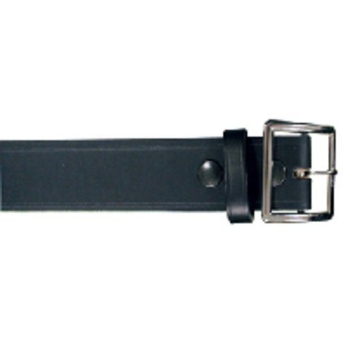 Boston Leather 6505-1-56 Black Plain Nickel Buckle Garrison Belt 56